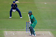 Pakistan womens cricket player Ayesha Zafar faces a delivery during the ICC Women's World Cup match between England and Pakistan at the Fischer County Ground, Grace Road, Leicester, United Kingdom on 27 June 2017. Photo by Simon Davies.