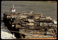Barge docked at Eirunepe on Jurua River holds cargo of mahogany logs illegally cut upriver. Brazil