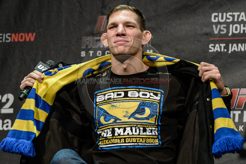"STOCKHOLM, SWEDEN, JANUARY 23, 2015: Luke Barnatt is pictured during a fan question and answer session ahead of ""UFC on Fox 14: Gustafsson vs. Johnson"" inside Hovet Arena in Stockholm, Sweden"