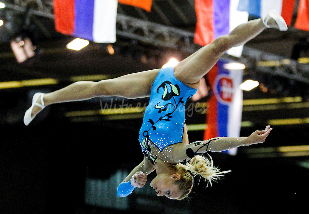 Greek Vasiliki Millousi competes on the beam during the seniors apparatus finals at the Women Artistic Gymnastics European Championships in Brussels, Belgium, 13 May 2012.