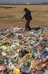 Drying washed plastic bags for recycling in shanty near Gobindigarh; Punjab; India,