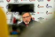 Craig Levein, manager of Heart of Midlothian speaks to the media during the press conference ahead of the visit of Rangers in the Scottish Premiership on 1st December 2018, at Oriam Sports Performance Centre, Riccarton, Scotland on 30 November 2018.