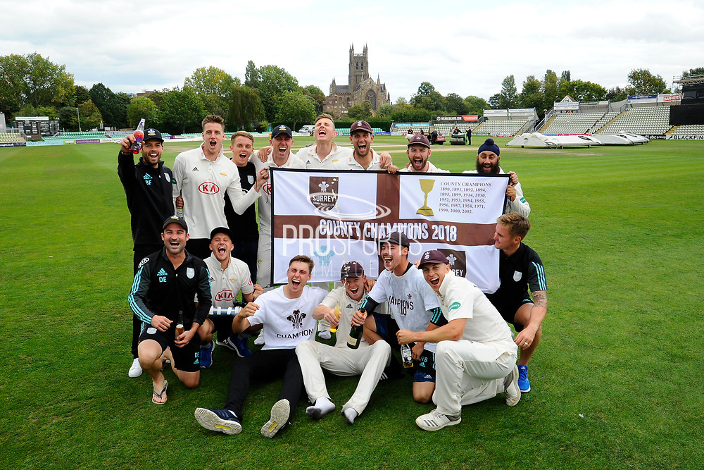 Surrey are Champions - The Surrey players celebrate winning the County Championship on the field with the Cathedral behind them during the final day of the Specsavers County Champ Div 1 match between Worcestershire County Cricket Club and Surrey County Cricket Club at New Road, Worcester, United Kingdom on 13 September 2018.