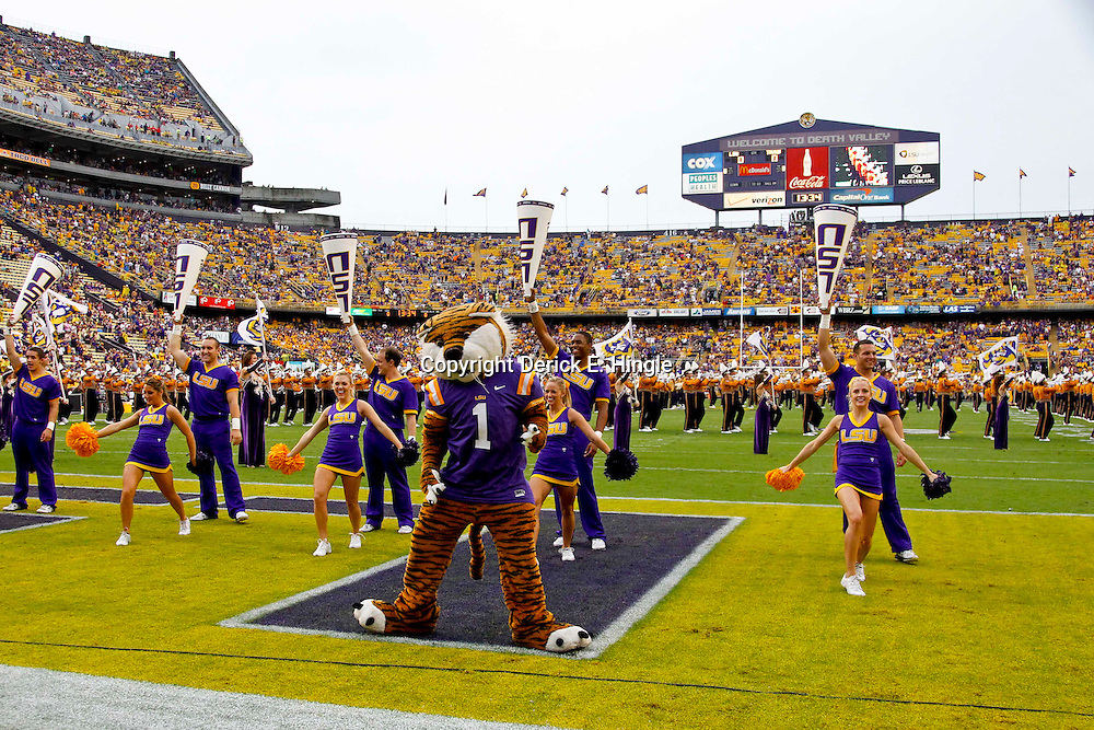 September 29, 2012; Baton Rouge, LA, USA; LSU Tigers mascot Mike the Tiger and LSU cheerleaders perform prior to kickoff of a game against the Towson Tigers at Tiger Stadium. LSU defeated Towson 38-22. Mandatory Credit: Derick E. Hingle-US PRESSWIRE