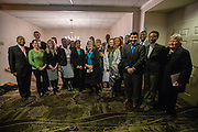 Students that participated in the contest for the trip to implement a plan of their creation to benefit global well-being pose for a photograph with their professors, advisors, and President McDavis. ©Ohio University / Photo by Katelyn Vancouver