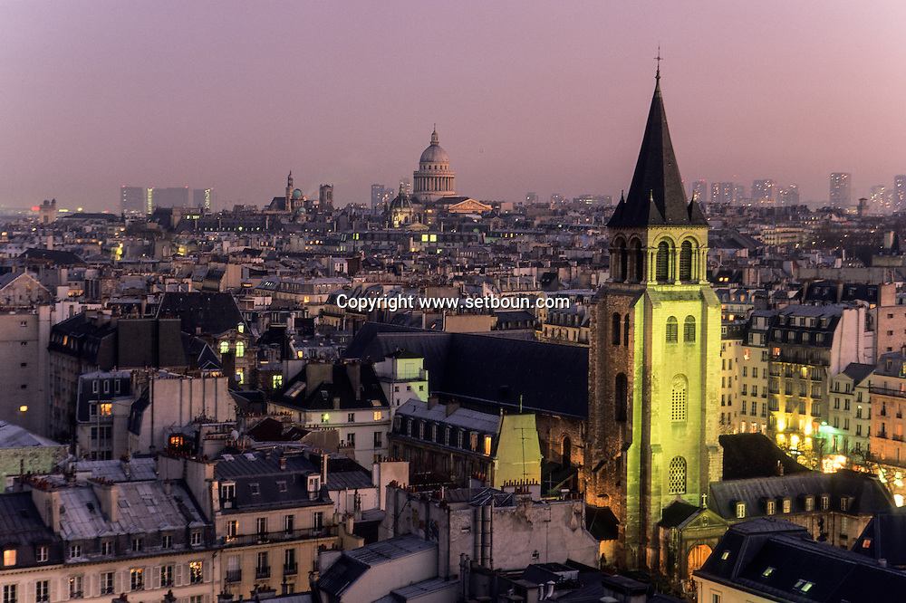 France. Paris. elevated view. Saint Germain des pres church and Pantheon Hill view from roof top of university
