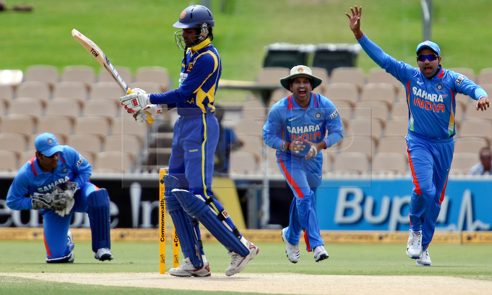 © Licensed to London News Pictures. 14/02/2012. Adelaide Oval, Australia. Indian batsmen Upul Tharanga caught for a duck of the bowling of Indian Vinay Kumar during the One Day International cricket match between India Vs Sri Lanka. Photo credit : Asanka Brendon Ratnayake/LNP