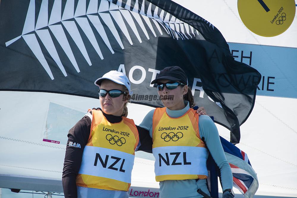 2012 Olympic Games London / Weymouth<br /> 470 Medal Race<br /> Aleh Jo, Powrie Olivia, (NZL, 470 Women)<br /> Belcher Friederike, Kadelbach Kathrin, (GER, 470 Women)<br /> Conti Giulia, Micol Giovanna, (ITA, 470 Women)