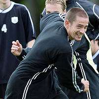 St Johnstone training...12.07.04<br />Paul Bernard messes about with Ryan Stevenson<br /><br />Picture by Graeme Hart.<br />Copyright Perthshire Picture Agency<br />Tel: 01738 623350  Mobile: 07990 594431