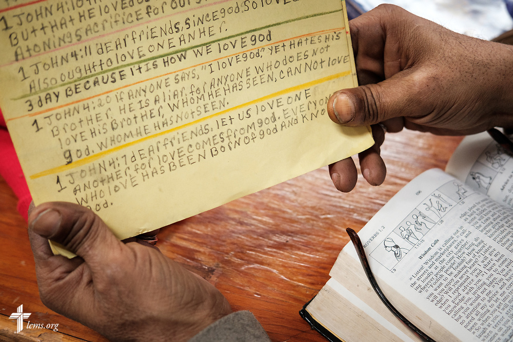 William Holloman reads his handwritten favorite Bible verses at Family of God on Wednesday, March 28, 2018, in Detroit. LCMS Communications/Erik M. Lunsford