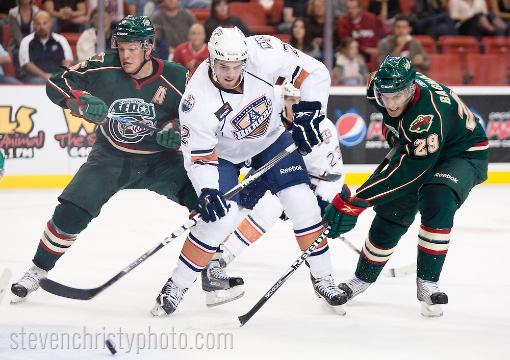 October 15, 2010: The Oklahoma City Barons play the Houston Aeros in an American Hockey League game at the Cox Convention Center.