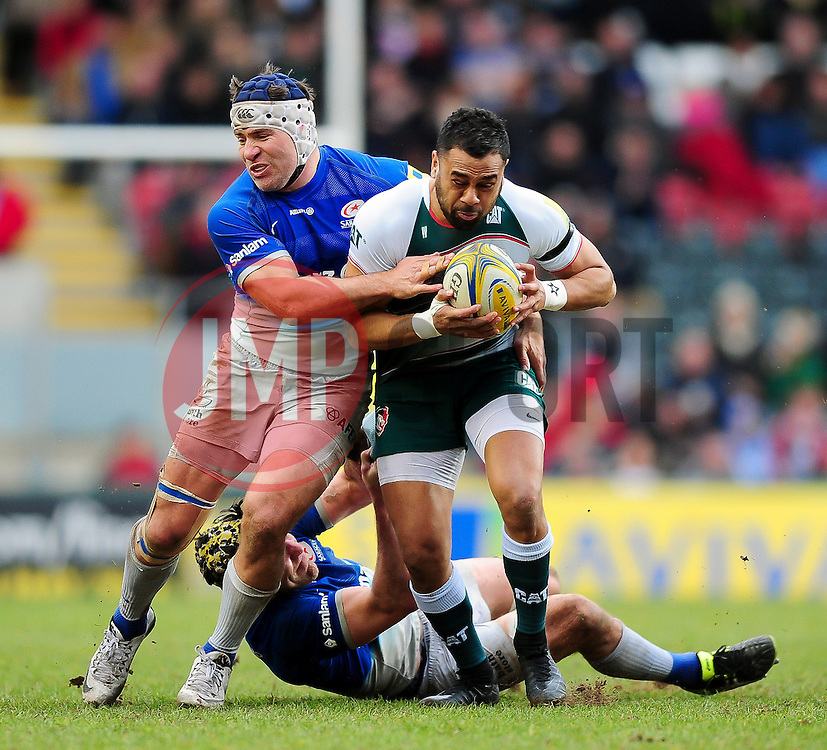 Telusa Veainu of Leicester Tigers is tackled by Schalk Brits of Saracens - Mandatory byline: Patrick Khachfe/JMP - 07966 386802 - 20/03/2016 - RUGBY UNION - Welford Road - Leicester, England - Leicester Tigers v Saracens - Aviva Premiership.