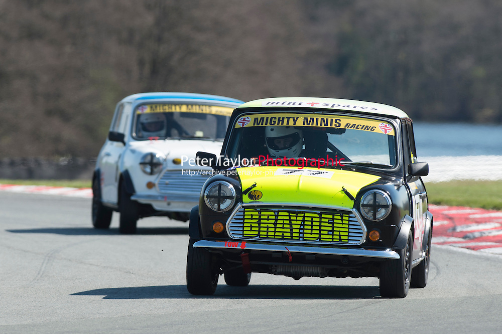 #77 Brayden Fletcher, Mighty Mini during BRSCC Mighty Minis Championship as part of the BRSCC Club Car Championships at Oulton Park, Little Budworth, Cheshire, United Kingdom. April 18 2015. World Copyright Peter Taylor/PSP. Copy of publication required for printed pictures.  Every used picture is fee-liable. http://archive.petertaylor-photographic.co.uk
