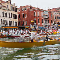 "VENICE, ITALY - SEPTEMBER 05:  Rowers on a traditional Venetian boats ""gondolini"" take part in the most important race of the  Historic Regata on September 5, 2010 in Venice, Italy. The Historic Regata is the most exciting rowing race on the Gran Canal for the locals and one of the most spectacular. ***Agreed Fee's Apply To All Image Use***.Marco Secchi /Xianpix. tel +44 (0) 207 1939846. e-mail ms@msecchi.com .www.marcosecchi.com"