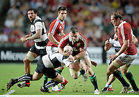 1 June 2013; Cian Healy, British & Irish Lions, is tackled by Duncan Jones, Barbarians. British & Irish Lions Tour 2013, Barbarians v British & Irish Lions, Hong Kong Stadium, So Kon Poh, Hong Kong, China. Picture credit: Stephen McCarthy / SPORTSFILE