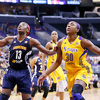 03 August 2014: Connecticut Sun forward Chiney Ogwumike (13) vies for the rebound with Los Angeles Sparks forward Nneka Ogwumike (30) during the Los Angeles Sparks 70-69 victory over the Connecticut Sun, at the Staples Center, Los Angeles, California, USA.