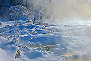 Fog and hoarfrost on trees at edge of the Wabigoon River<br />Vermillion Bay<br />Ontario<br />Canada