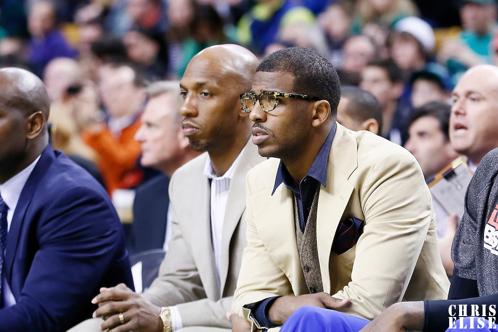 03 February 2013: Los Angeles Clippers point guard Chris Paul (3) is seen on the bench next to Los Angeles Clippers point guard Chauncey Billups (1) during the Boston Celtics 106-104 victory over the Los Angeles Clippers at the TD Garden, Boston, Massachusetts, USA.