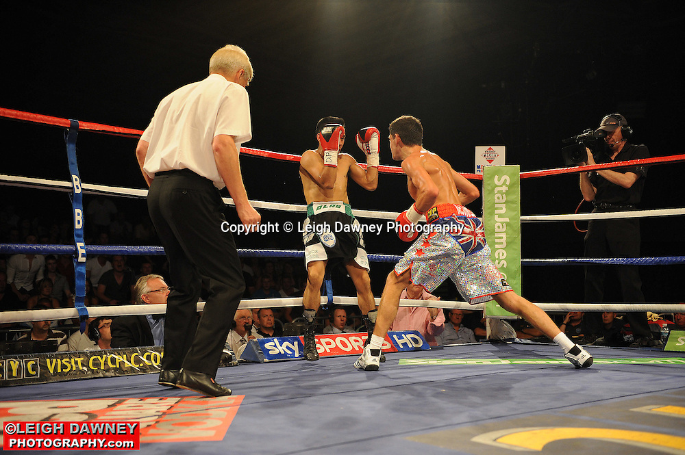 Jamie McDonnell defeats Rodrigo Bracco for the EBU Bantamweight Title at the Doncaster Dome, Doncaster on 2nd July 2010. Frank Maloney Promotions. Photo credit: © Leigh Dawney
