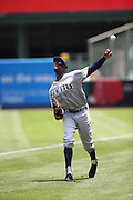 ANAHEIM, CA - JULY 20:  James Jones #99 of the Seattle Mariners plays catch before the game against the Los Angeles Angels of Anaheim at Angel Stadium on Sunday, July 20, 2014 in Anaheim, California. The Angels won the game 6-5. (Photo by Paul Spinelli/MLB Photos via Getty Images) *** Local Caption *** James Jones