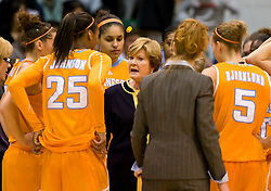 December 22, 2009; San Francisco, CA, USA;  Tennessee Lady Volunteers head coach Pat Summitt talks with forward Glory Johnson (25) during the first half against the San Francisco Dons at War Memorial Gym.  Tennessee defeated San Francisco 89-34.