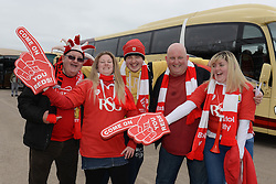Bristol City fans at Ashton Gate before coaches depart for Wembley for the Johnstone Paint Trophy against Walsall - Photo mandatory by-line: Dougie Allward/JMP - Mobile: 07966 386802 - 22/03/2015 - SPORT - Football - London - Wembley Stadium - Bristol City v Walsall - Johnstone Paint Trophy Final