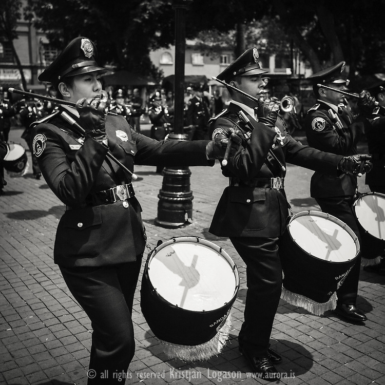 The  Police marching band  marcing in coyocan district in Mexico city