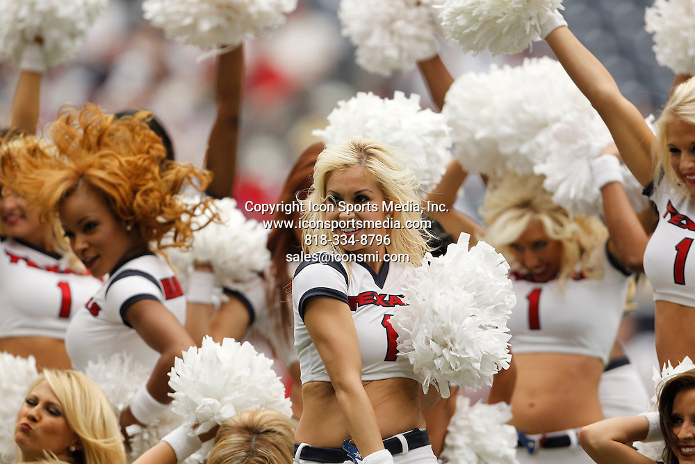12 September 2010:<br /> A Houston Texans cheerleader cheers on her team prior to the Indianapolis Colts vs. Houston Texans football game at Reliant Stadium on Sunday September 12, 2010 in Houston, Texas. Houston won 34-24.