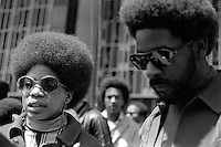 "Black Panther members Brenda Presley and John Seale at Black Panther ""Free Huey Newton""rally, San Francisco Mayday 1969"