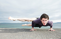 David Cunningham from Shala Yoga demonstrates some on the prom in  Salthill Galway. Photo:Andrew Downes, xposure.