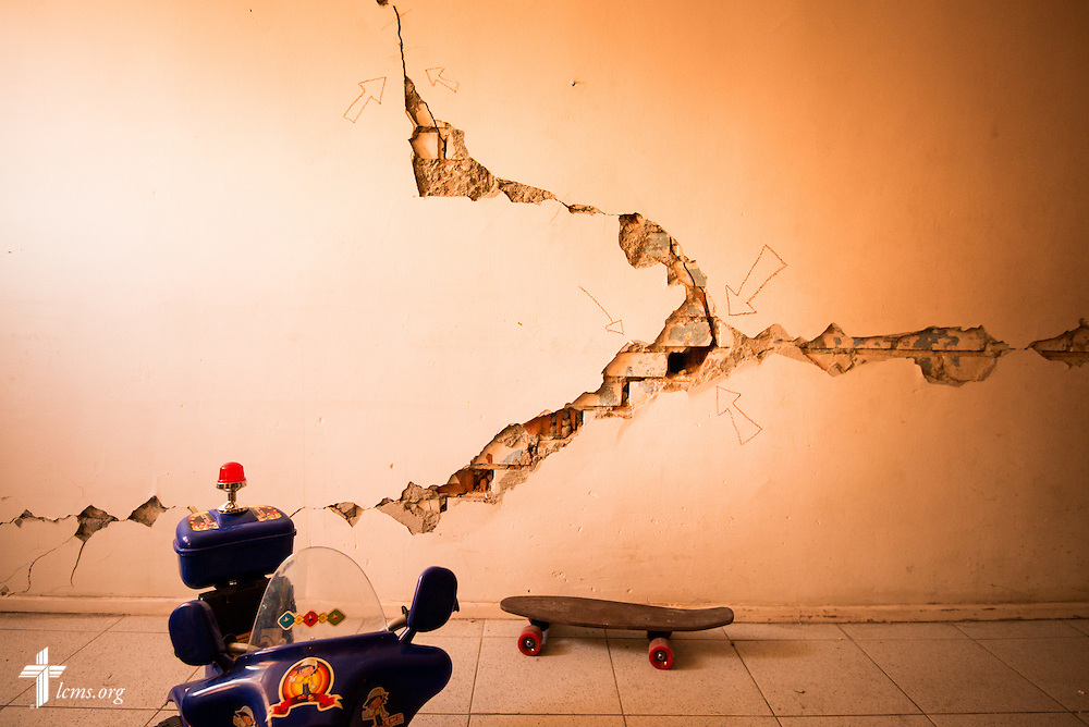 Cracks from an earthquake line the walls of an apartment in a complex on Wednesday, April 23, 2014, in Iquique, Chile. The city was damaged by a magnitude 8.2 earthquake that struck on April 1, 2014, approximately 95km northwest of Iquique. The earthquake condemned several thousand homes and severely damaged more than 10,000 others. LCMS Communications/Erik M. Lunsford