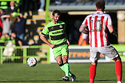 Forest Green Rovers Gavin Gunning(16) passes the ball forward during the EFL Sky Bet League 2 match between Forest Green Rovers and Cheltenham Town at the New Lawn, Forest Green, United Kingdom on 20 October 2018.