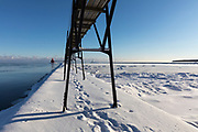 Lighthouse on Lake Michigan in Sturgeon Bay, Wisconsin on a cold winter afternoon.