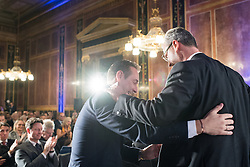 21.11.2016, Parlament, Wien, AUT, FPÖ, Feier anlässlich des 10 jährigen Jubiläums HC Strache´s als Klubobmann. im Bild v.l.n.r. Klubobmann FPÖ Heinz-Christian Strache und FPÖ-Präsidentschaftskandidat Norbert Hofer // f.l.t.r. Leader of the parliamentary group FPOe Heinz Christian Strache and Candidate for Presidential Elections Norbert Hofer (Austrian Freedom Party) during 10 years anniversary leader of the parliamentary group of the austrian freedom party in Vienna, Austria on 2016/11/21. EXPA Pictures © 2016, PhotoCredit: EXPA/ Michael Gruber