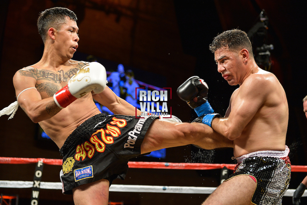 Carlos Lopez(red tape) Vs Rami Ibrahim(blue tape) at the Lion Fight 17 event in Foxwoods Resort and Casino in Mashantucket, CT on Friday, August 1st, 2014