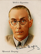 (George) Warwick Deeping (1877-1950) British novelist born at Southend-in-Sea, Essex.  A best selling author in Europe and America in the 1920s and 1930s with novels such as 'Sorrell and Son' (1925). From a series of cards of 'Famous British Authors' (London, 1937).