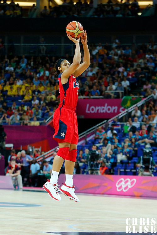09 August 2012: USA Seimone Augustus takes a jumpshot during 86-73 Team USA victory over Team Australia, during the women's basketball semi-finals, at the 02 Arena, in London, Great Britain.