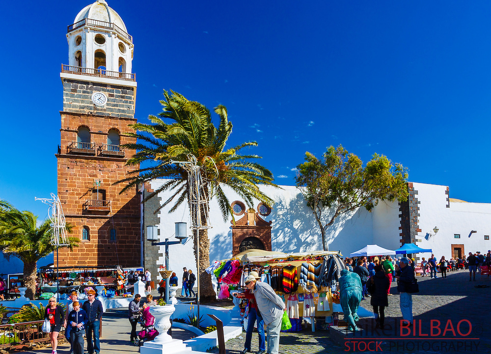 Street market and Nuestra Señora de Guadalupe Church. Teguise. Lanzarote, Canary islands, Spain, Europe