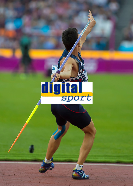 Athletics - 2017 IAAF London World Athletics Championships - Day Nine, Evening Session<br /> <br /> Mens Decathlon - Javelin<br /> <br /> Bastien Auzeil (France) launches the javelin at the London Stadium<br /> <br /> COLORSPORT/DANIEL BEARHAM