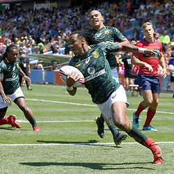Action from the 2018 HSBC World Sevens Series Hamilton match between South Africa and Scotland at FMG Stadium in Hamilton, New Zealand on Sunday, 4 February 2018. Photo: Kerry Marshall / lintottphoto.co.nz