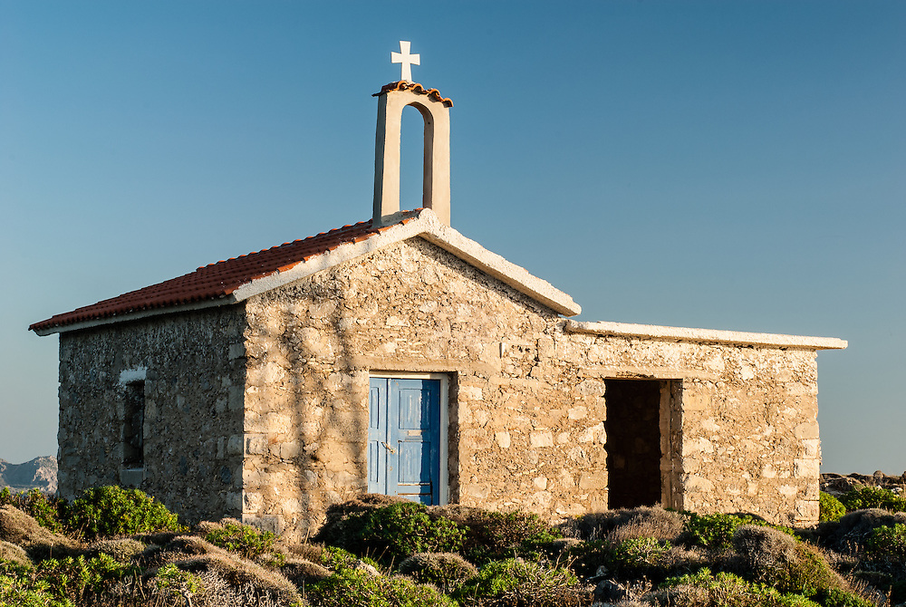 A Chapel sits on a small penensula in Elafonisi, Crete.