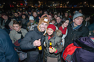 Revellers at Princess Street gardens, Hogmanay celebrations, Edinburgh. 2016