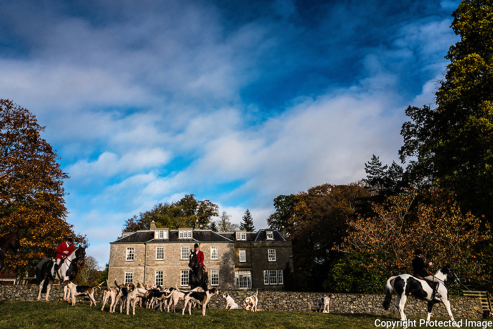 The Jedforest Hunt meet at Hallrule House near Hawick, Scotland.