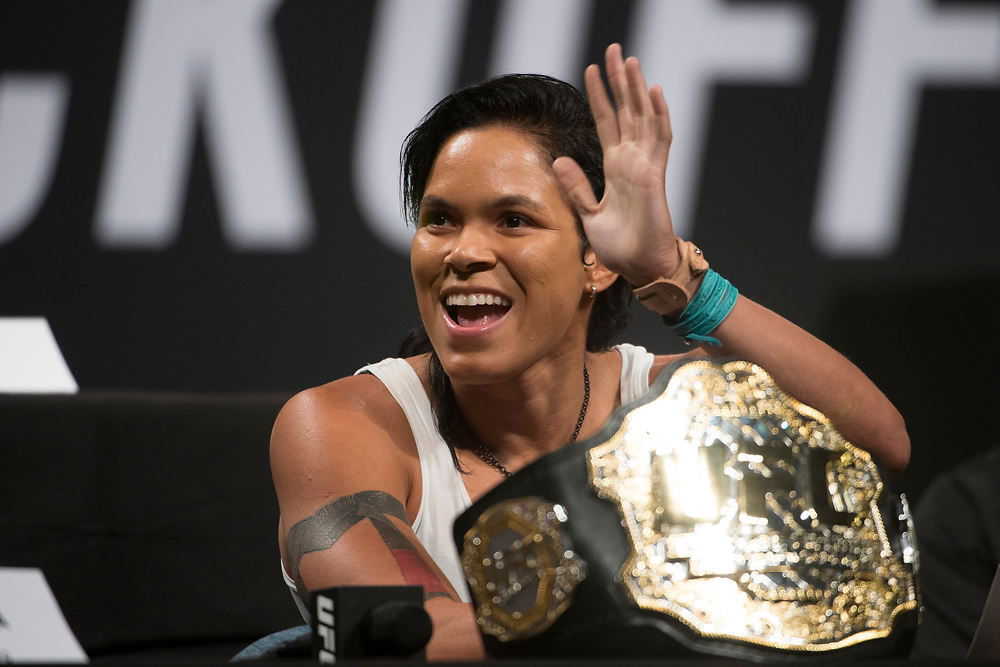 DALLAS, TX - MAY 12:  Amanda Nunes speaks to the media during the UFC Summer Kickoff Press Conference at the American Airlines Center on May 12, 2017 in Dallas, Texas. (Photo by Cooper Neill/Zuffa LLC/Zuffa LLC via Getty Images) ***Local Caption***  Amanda Nunes