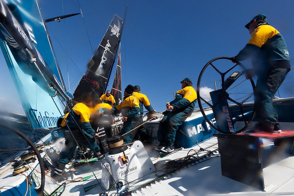 SOUTH AFRICA. 8th December 2011. Volvo Ocean Race. In Port practice race on board Team Telefonica.