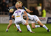 Sale Sharks stand-off James O'Connor runs at Exeter Chiefs prop Carl Rimmer during the The Aviva Premiership match Sale Sharks -V- Exeter Chiefs  at The AJ Bell Stadium, Salford, Greater Manchester, England on Friday, October 27, 2017. (Steve Flynn/Image of Sport)