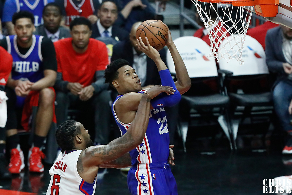 11 March 2017: Philadelphia 76ers forward Richaun Holmes (22) is fouled by LA Clippers center DeAndre Jordan (6) during the LA Clippers 112-100 victory over the Philadelphia Sixers, at the Staples Center, Los Angeles, California, USA.