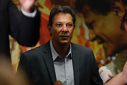 October 10, 2018 - Sao Paulo, Sao Paulo, Brazil - Sao Paulo, Sao Paulo, Brazil - Oct, 2018 - FERNANDO HADDAD candidate of the Workers' Party to the presidency of Brazil during a press conference for the foreign press. Faced with the information that his competitor JAIR BOLSONARO will not attend the first television debate of the second round of elections, HADDAD said he pledges to debate even within a hospital. (Credit Image: © Marcelo Chello/ZUMA Wire)