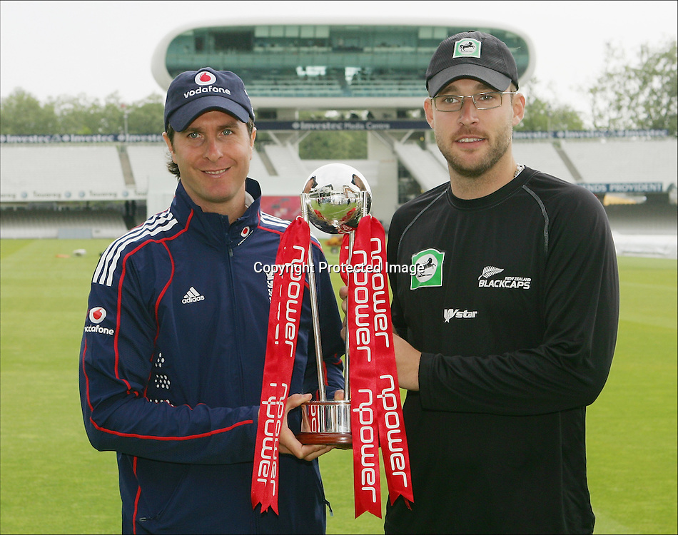 Test captains Michael Vaughan and Daniel Vettori with the npower trophy at Lord's Cricket Ground, London. 14 May 2008. Photo: Philip Brown/PHOTOSPORT