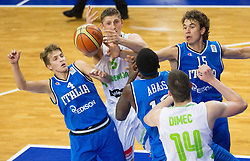Gezim Morina of Slovenia vs Giacomo Cicognani of Italy during basketball match between National team of Slovenia and Italy in First Round of U20 Men European Championship Slovenia 2012, on July 12, 2012 in Domzale, Slovenia.  (Photo by Vid Ponikvar / Sportida.com)